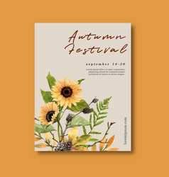 Autumn themed poster design with plants concept vector