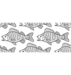 Bass fish contour pattern vector
