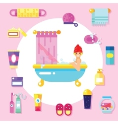 Bath supplies hygiene accessories cosmetics etc vector image
