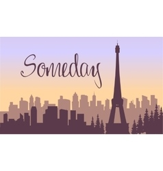 Beautiful eiffel tower of silhouette vector image