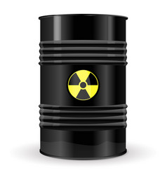 Black metal barrel with yellow danger sign vector