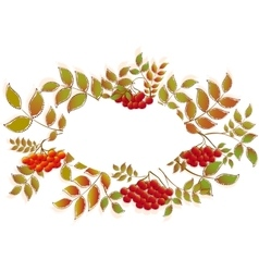 Border from autumn leaves and rowan eps10 vector