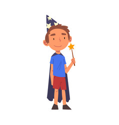 Boy wearing magician costume standing with magic vector