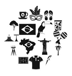 brazil icons black vector image