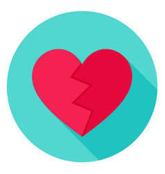 Broken heart flat circle icon vector