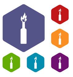 Burning bottle icons set hexagon vector