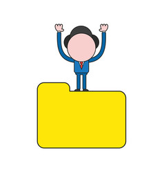Businessman character standing on closed file vector