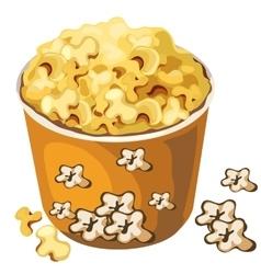 Cardboard popcorn bucket food isolated vector