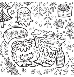 cartoon bigfoot or yeti sleeping in forest vector image