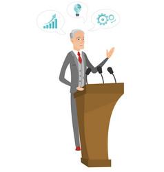 caucasian politician giving a speech from tribune vector image vector image