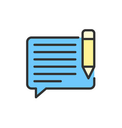 Chat with pen sms write message email vector