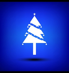 Christmas tree white on blue vector image