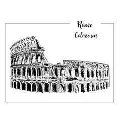 coliseum rome architectural symbol beautiful vector image