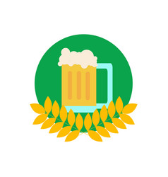 common glass of beer in wheat emblem vector image
