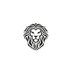 creative lion black head logo vector image