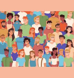 crowd diverse people multiethinc nationalities vector image