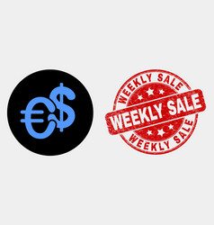 currency icon and grunge weekly sale stamp vector image