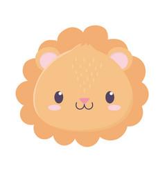 Cute lion face animal cartoon isolated icon vector