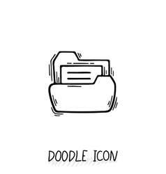 Doodle folder icon with paper vector