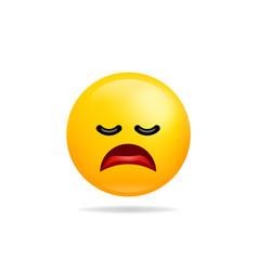 emoji smile icon symbol tired face yellow cartoon vector image