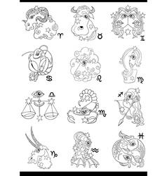 Fantasy horoscope zodiac signs vector