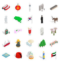 Far east icons set isometric style vector