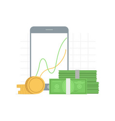finance analitics chart on the screen and money vector image