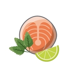 Fish and lemon slice icon vector