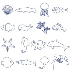 fish and sea life outline icons set eps10 vector image