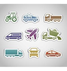 flat retro color stickers - set four vector image