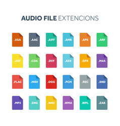 flat style icon set audio song voice recording vector image