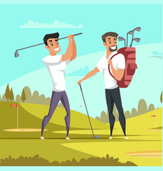 friends playing golf flat vector image