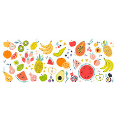 fruit collection in flat hand drawn style set vector image