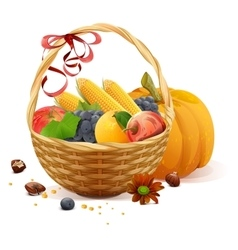 Fruits and vegetables in wicker basket Rich vector image