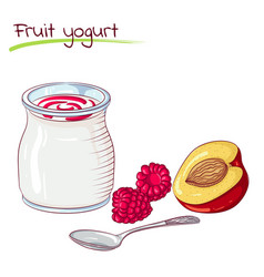 Fruits and yogurt vector