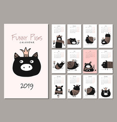 funny pigs symbol 2019 calendar design vector image