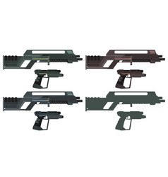 futuristic sci-fi assault beam rifle and pistol vector image