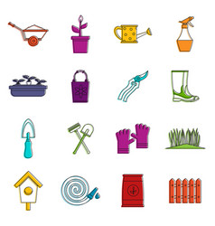 Gardening icons doodle set vector