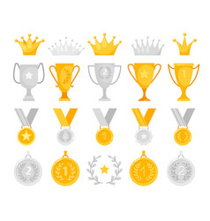 gold and silver awards set vector image
