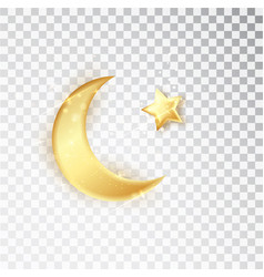 gold shiny glowing half moon with star isolated on vector image
