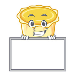 Grinning with board egg tart character cartoon vector