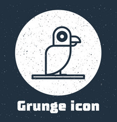 Grunge line pirate parrot icon isolated on grey vector
