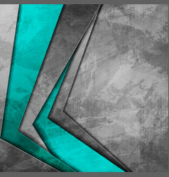 Grunge tech corporate cyan and grey background vector