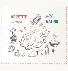 hand drawn food poster chicken with vegetables vector image