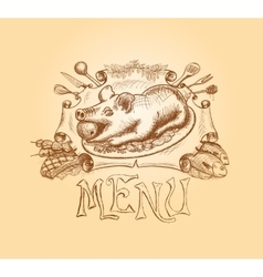 hand drawn menu title design vector image