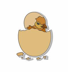 hatched chicken eggs sticker concept vector image