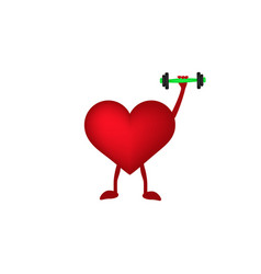 Heart with dumbbells in hand vector