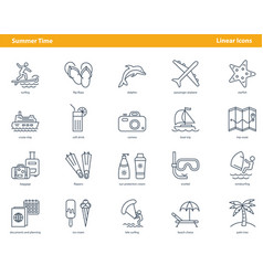 icons for summertime concept vector image