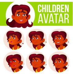 indian girl avatar set kid high school vector image