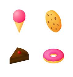 isometric desserts icon set vector image